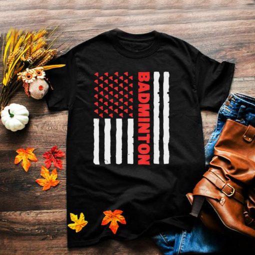 Badminton Team American Flag USA Badminton T Shirt