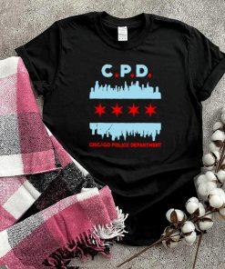 C.P.D Chicago Police Department Flag Skyline T shirt