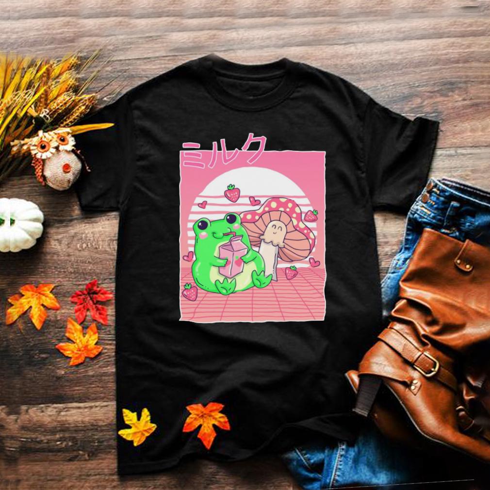 Cottagecore Aesthetic Frog Strawberry Milk Mushroom Kawaii T shirt