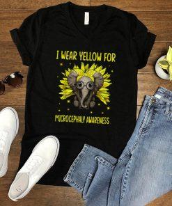 Elephant Sunflower I Wear For Yellow Microcephaly Awareness T shirt