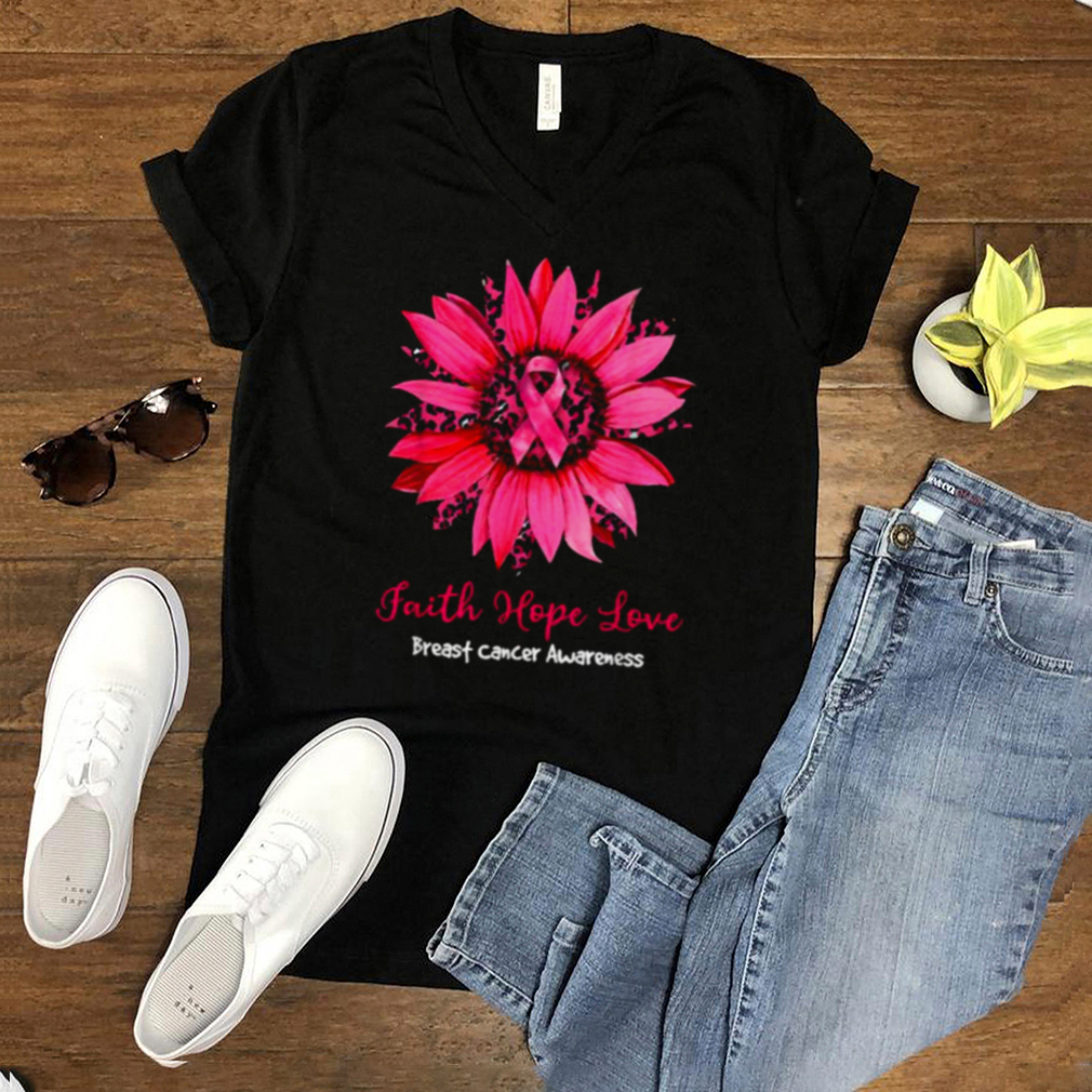 Faith Hope Love Breast Cancer Awareness Leopard Sunflower T Shirt