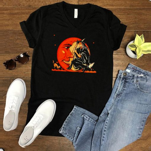 Great Vintage Witch And Moon Halloween T shirt