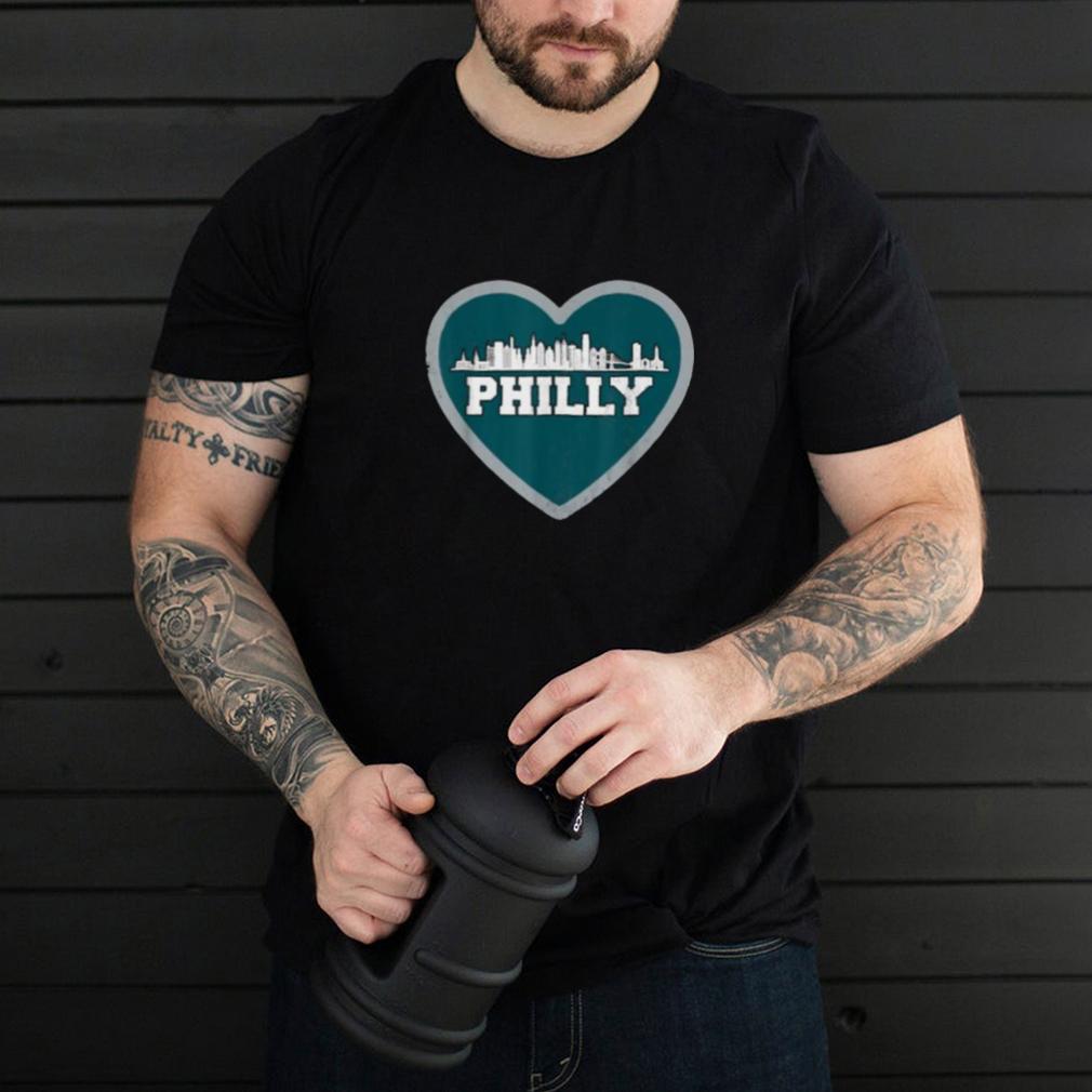 I Love Philly Heart Philadelphia Skyline Football T Shirt