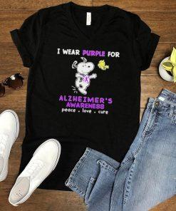 I Wear Purple For Alzheimers Awareness Peace Love Cute Snoopy Shirt