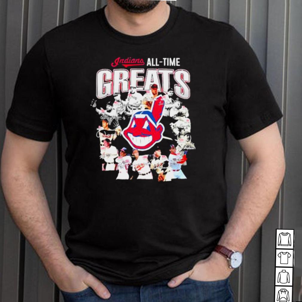 Indians all time greats signatures shirt