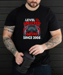 Level 13 Unlocked Awesome Since 2008 13th Birthday Gaming Shirt