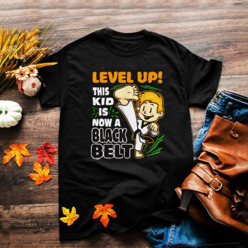Level Up This Kid Is Now Black Belt Funny Karate Boys T Shirt