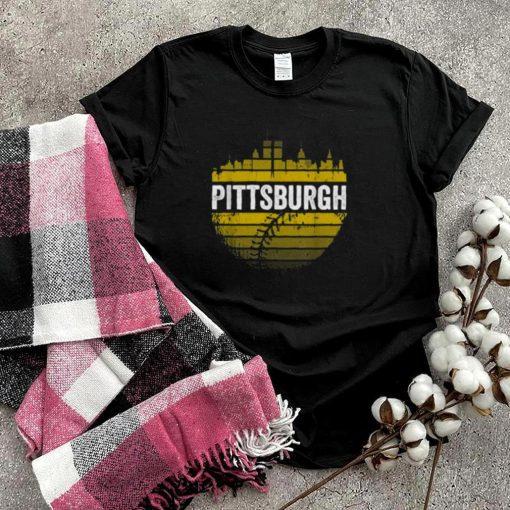 Pittsburgh Baseball Cityscape Distressed Novelty Pirate T Shirt