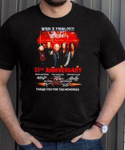 World Tour 2021 Aerosmith 51th Anniversary thank you for the memories shirt