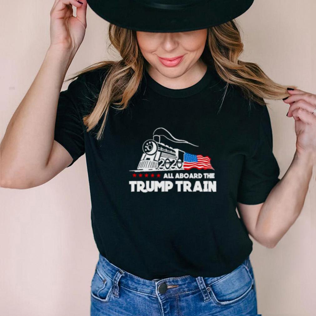 all aboard the trump train american flag shirt