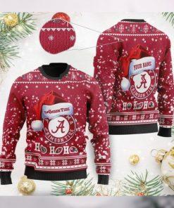 Alabama Crimson Tide NCAA Symbol Wearing Santa Claus Hat Cute Pattern Ho Ho Ho Custom Personalized Ugly Christmas Sweater Wool Shirt