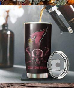 Arizona Cardinals Skull Custom Name Tumbler Personalized Football Dinkware Customized NFL Cup