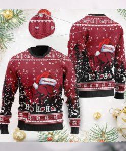Arkansas Razorbacks NCAA Symbol Wearing Santa Claus Hat Cute Pattern Ho Ho Ho Custom Personalized Ugly Christmas Sweater Woo