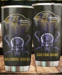 Baltimore Ravens Skull Custom Name Tumbler Personalized Football Dinkware Customized NFL Cupsq