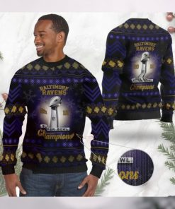 Baltimore Ravens Super Bowl Champions NFL Cup Ugly Christmas Sweater Sweatshirt Party