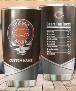 Chicago Bears Fan Facts Super Bowl Champions American NFL Football Team Logo Grateful Dead Skull Custom Name Personalized Tumbler Cup For Fanz