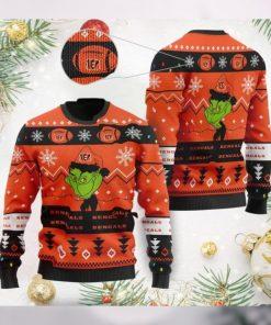 Cincinnati Bengals American NFL Football Team Logo Cute Grinch 3D Men And Women Ugly Sweater Shirt For Sport Lovers On Christmas Days
