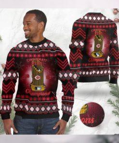Cincinnati Reds World Series Champions MLB Cup Ugly Christmas Sweater Sweatshirt Party