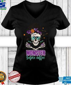 Coffee Momster Halloween Costume Skull Mom Messy Hair Bun T Shirt
