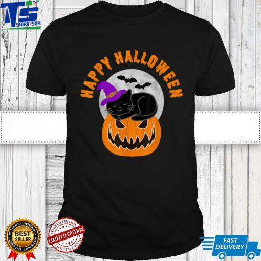 Cute Black Cat Witch Scary Pumpkin Happy Halloween T Shirt