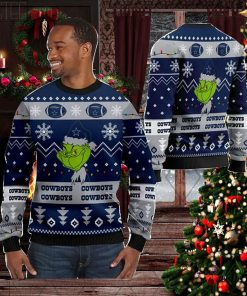 Dallas Cowboys American NFL Football Team Logo Cute Grinch 3D Men And Women Ugly Sweater Shirt For Sport Lovers On Christmas Days