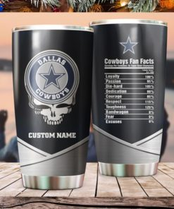 Dallas Cowboys Fan Facts Super Bowl Champions American NFL Football Team Logo Grateful Dead Skull Custom Name Personalized Tumbler Cup For Fan 1