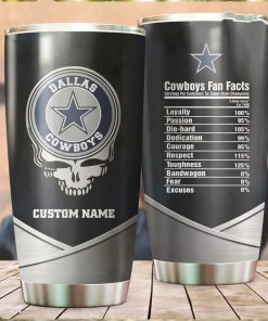 Dallas Cowboys Fan Facts Super Bowl Champions American NFL Football Team Logo Grateful Dead Skull Custom Name Personalized Tumbler Cup For Fanz