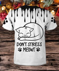 Don't Stress Meowt Cute Lovely Cat Black Watercolor 3D All Over Print T Shirt For Pet Lovers