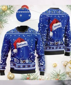 Duke Blue Devils NCAA Symbol Wearing Santa Claus Hat Cute Pattern Ho Ho Ho Custom Personalized Ugly Christmas Sweater Wool S