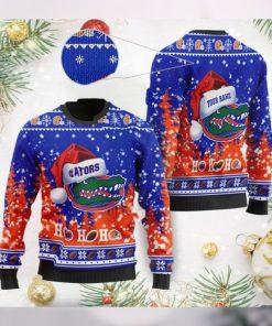 Florida Gators NCAA Symbol Wearing Santa Claus Hat Cute Pattern Ho Ho Ho Custom Personalized Ugly Christmas Sweater Wool Shi