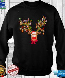 Funny Reindeer Face tee Reindeer Santa Christmas Decorations T Shirt