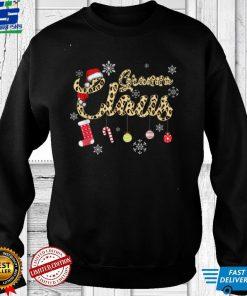 Granna Claus Christmas Famiy Matching Pajamas Leopard Santa T Shirt