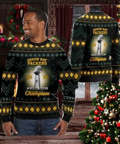 Green Bay Packers Super Bowl Champions NFL Cup Ugly Christmas Sweater Sweatshirt Party