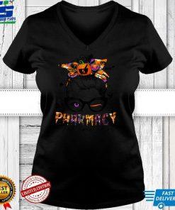 Halloween Pharmacy Tech Costume Messy Bun Hair Woman T Shirt