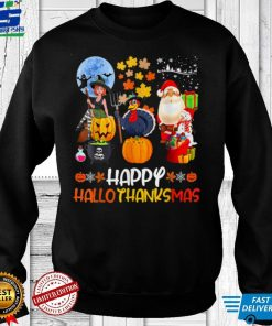 Happy Hallothanksmas Funny Halloween Thanksgiving Christmas T Shirt