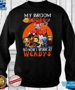 Horror Halloween chibi my broom broke so now I work at Wendys shirt