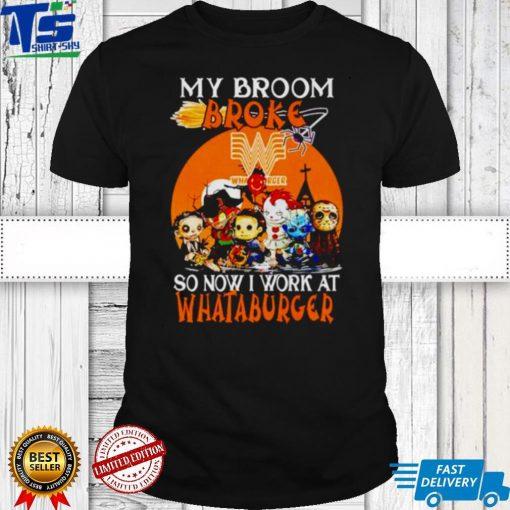 Horror Halloween chibi my broom broke so now I work at Whataburger shirt