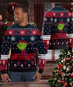 Houston Texans American NFL Football Team Logo Cute Grinch 3D Men And Women Ugly Sweater Shirt For Sport Lovers On Christmas Days