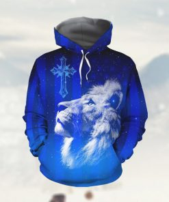 Jesus Cross Lion Galaxy American Flag Custom Name 3D All Over Print Hoodie Shirt For God Lovers In Daily Life
