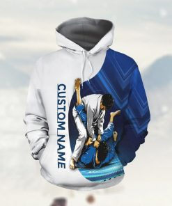 Jiu Jitsu Blue Custom Name 3D All Over Print Hoodie Shirt For Martial Artists And BJJ Lovers In Daily Life