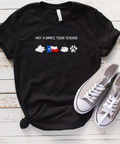 Just a simple Texas teacher Book Texas flag Coffee and Dog shirt