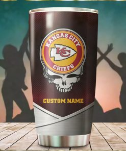 Kansas City Chiefs Fan Facts Super Bowl Champions American NFL Football Team Logo Grateful Dead Skull Custom Name Personalized Tumbler Cup For Fan