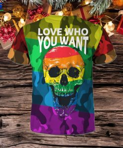 LGBT Rainbow Camouflage Skull Custom Name 3D All Over Print T Shirt For Gay Lesbian Bisexual Transgender In Pride Month