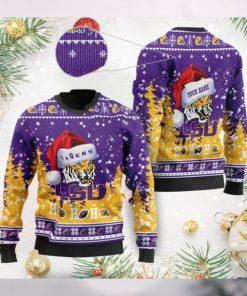 LSU Tigers NCAA Symbol Wearing Santa Claus Hat Cute Pattern Ho Ho Ho Custom Personalized Ugly Christmas Sweater Wool Shirt