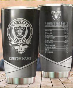Las Vegas Raiders Fan Facts Super Bowl Champions American NFL Football Team Logo Grateful Dead Skull Custom Name Personalized Tumbler Cup For Fanz