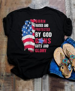 Lion born raised and protected by god guns guts and glory shirt