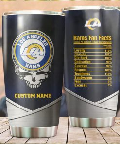 Los Angeles Rams Fan Facts Super Bowl Champions American NFL Football Team Logo Grateful Dead Skull Custom Name Personalized Tumbler Cup For Fanz