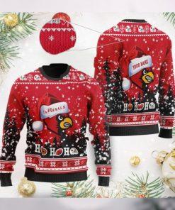 Louisville Cardinals NCAA Symbol Wearing Santa Claus Hat Cute Pattern Ho Ho Ho Custom Personalized Ugly Christmas Sweater Wool