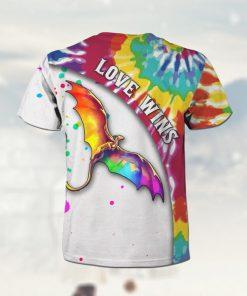 Love Wins Tie Dye Rainbow Dragon 3D All Over Print T Shirt For LGBTQ Gay Lesbian Biexual Transgender Comunity In Pride Month