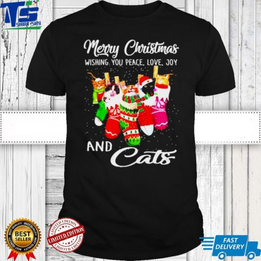 Merry Christmas wishing you peace love joy and cats shirt